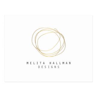 Minimal and Modern Designer Scribble Logo in Gold Postcard