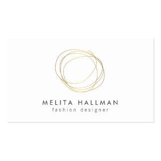 Minimal and Modern Gold Designer Scribble Logo II Pack Of Standard Business Cards