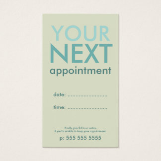 Minimal Basic Appointment Card in Eggshell & Cyan