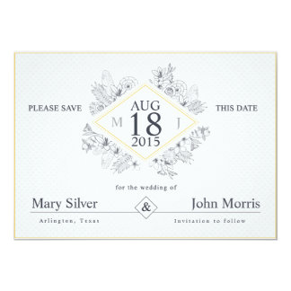Minimal Black Flowers - Save the Date Card