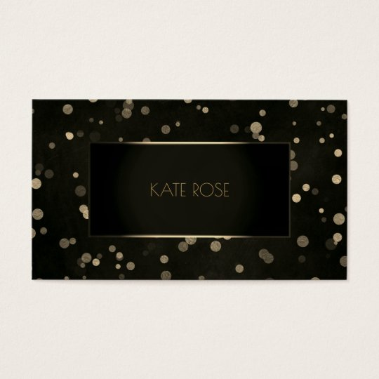 Minimal Black Golden Dots Confetti Frame Glam Business
