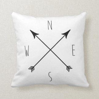 Minimal Black & White Compass Throw Pillow