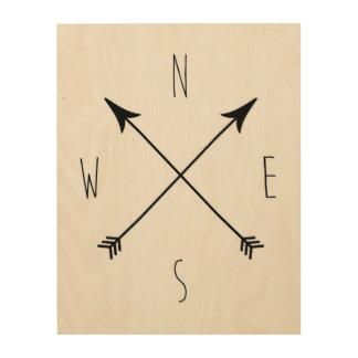 Minimal Black & White Compass Wood Wall Art