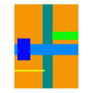 Minimal Blue Station Orange Peel Postcard