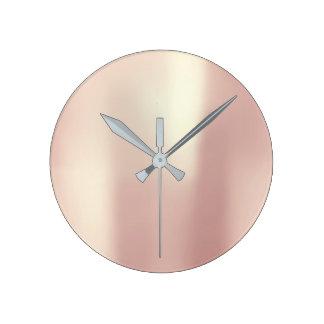 Minimal Blush Pink Rose Gold Blush Silk Metallic Round Clock