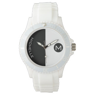 Minimal BW Halftone Monogrammed Watch