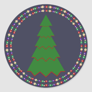 Minimal Christmas Tree with Twin Rings Round Sticker