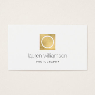 Minimal Circle Camera Lens Gold Photography Logo Business Card