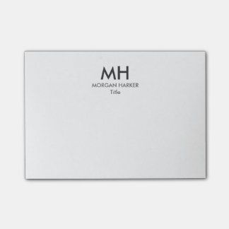 Minimal Clean Initials White Gray Post-it Notes