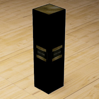 Minimal Conceptual Black White Gold Name Branding Wine Gift Box