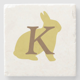 Minimal Cool Funky Yellow Bunny Monogrammed Stone Coaster