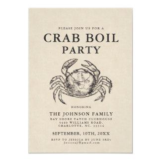 Minimal Crab Boil Vintage Style Crab Invite