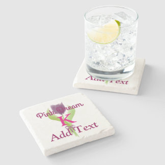 Minimal Cute Pink Dream Purple Tulip Monogrammed Stone Beverage Coaster
