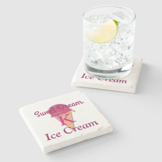 Minimal Cute Sweet Dream Ice Cream Monogrammed Stone Coaster