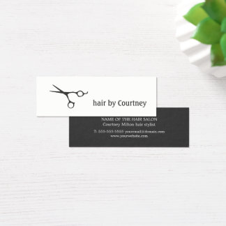 Minimal Dark Grey White Scissor Hair Stylist Mini Business Card
