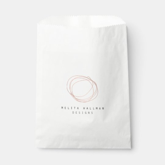 Minimal Designer Scribble Logo in Rose Gold Favour