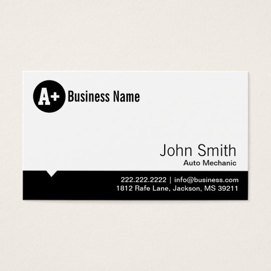 Minimal Dot Auto Mechanic Business Card