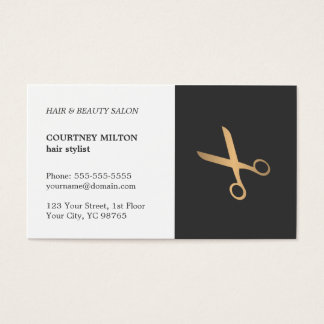 Minimal Elegant Black Faux Gold Hair Stylist Business Card