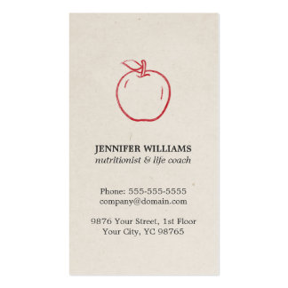 Minimal Elegant Cool Red Apple Nutritionist Pack Of Standard Business Cards