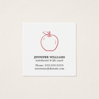 Minimal Elegant Cool Red Apple Nutritionist Square Business Card