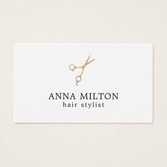 Minimal Elegant Faux Gold Scissor Hair Stylist Business