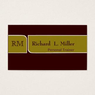 Minimal  Elegant Sage & Brown Double Edge Bands Business Card