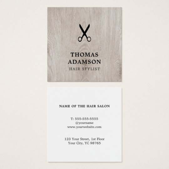 Minimal Elegant Wooden Black Scissor Hair Stylist Square Business Card
