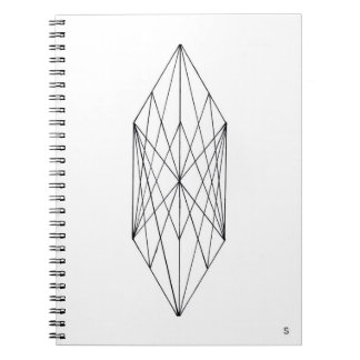 Minimal Geometric Crystal Spiral Notebook