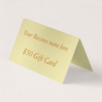 Minimal Gold Fifty Dollar Folded Gift Card