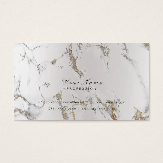 Minimal Golden Strokes Silver Metallic Marble Gray Business