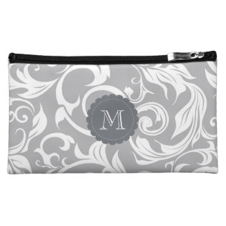 Minimal Gray Floral Scroll Monogram Makeup Bag