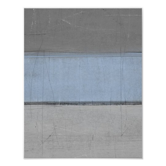 'Minimal' Grey and Blue Abstract Poster