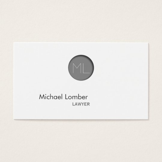Minimal Grey Embossed Dot Monogram Business Card