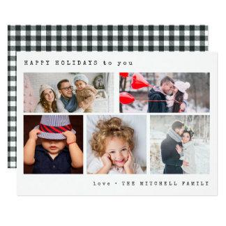 Minimal Holiday Photo Collage | Black Gingham Card