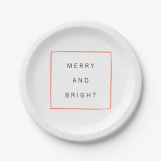 Minimal Lines Holiday Party Paper Plate 7 Inch Paper Plate