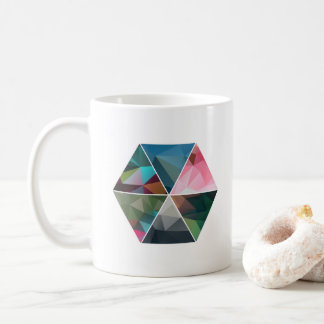 Minimal Low-Poly Hexagon Coffee Mug