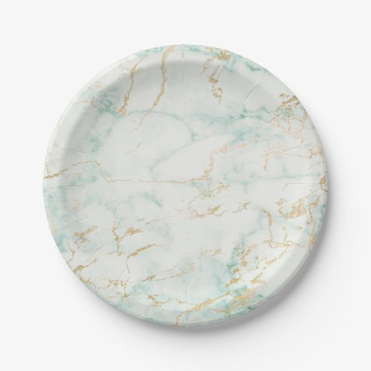 Minimal Mint Green Marble Glam Golden Vip Paper