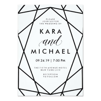 Minimal Modern Black and White Geometric Wedding Card