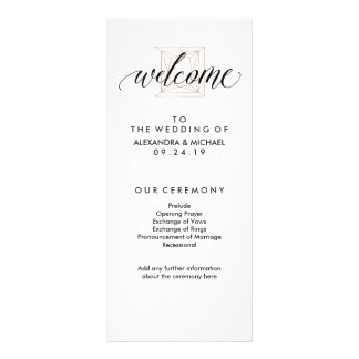 Minimal Modern Geometric Diamond Wedding Program Rack Card