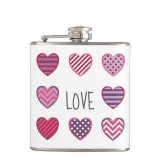 Minimal Modern Geometric Hearts Love Valentine Hip Flask