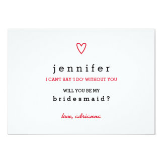 Minimal Modern Heart | Will You Be My Bridesmaid 13 Cm X 18 Cm Invitation Card