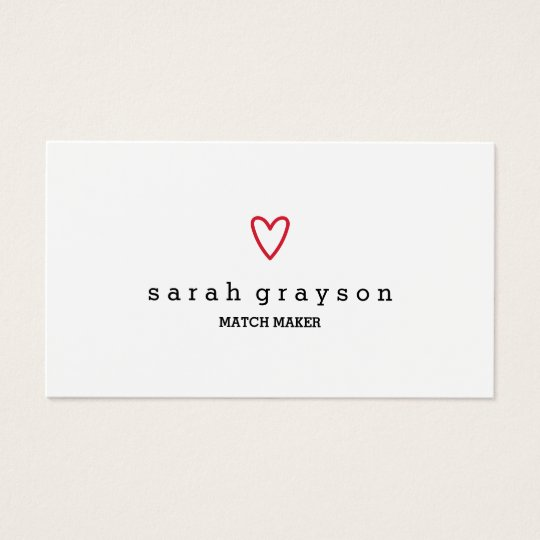 Minimal Modern Red Heart Business Card