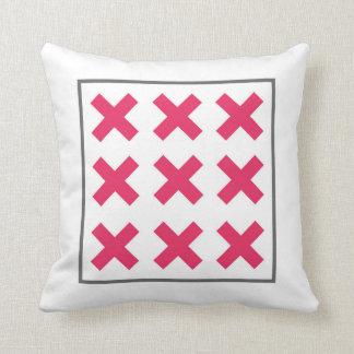 Minimal Neon Pink Cross Square Throw Pillow