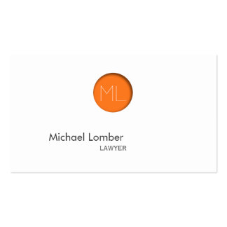 Minimal Orange Dot Monogram Business Card