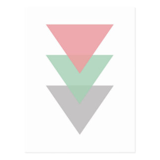 Minimal Pastel Colored Trio Of Triangles Postcard