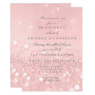 Minimal Pastel Pink Rose Gold  Birthday Glitter 11 Cm X 16 Cm Invitation Card