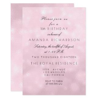 Minimal Pastel Pink Rose Lilac Birthday Party Card