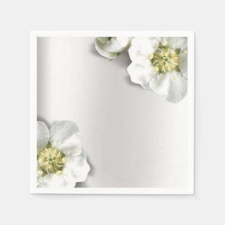 Minimal Pearly White Gray Silver Metallic Floral Paper Serviettes