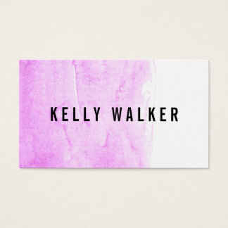 Minimal pink and black watercolor business card