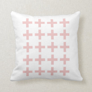 Minimal Pink Geometric Crosses Cushion
